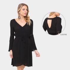 Vestido Lily Fashion Evasê Curto Renda - Preto