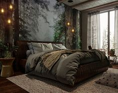 modern bedroom designs are offered on our website. Check it out and you will not be sorry you did. Dream Bedroom, Home Decor Bedroom, Wall Murals Bedroom, Dark Home Decor, Bedroom Bed, Bedroom Ideas, Forest Bedroom, Dark Cozy Bedroom, Woodsy Bedroom