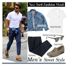 """NYFW Men's Street Style"" by helenevlacho ❤ liked on Polyvore featuring Levi's, Lacoste and Ray-Ban"