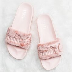 Puma X Rihanna Fenty Fur Slides pink sz 7.5 Brand new, never worn, with box and dust bag. Pink Size 7.5 - runs big - will fit women's size 8-8.5. Puma Shoes Slippers