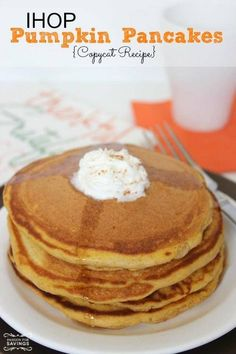 Here is an IHOP Pumpkin Pancakes Copycat Recipe you will want to try! This Fall Breakfast Recipe is so good if you love to try NEW Pumpkin Recipes! Ihop Pancake Recipe Copycat, I Hop Pancake Recipe, Copycat Recipes, Pancake Recipes, Recipe For Pumpkin Pancakes, Breakfast Recipes, Brunch Recipes, Pumpkin Recipes, Fall Recipes