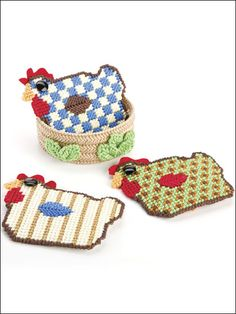 Rooster Coasters & Nest Plastic Canvas Pattern Download from e-PatternsCentral.com -- Have fun creating these roosters for any room of the house.