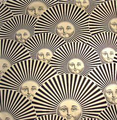 Sun Fan ecru fabric designed by Piero Fornasetti.