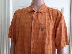 Columbia Shirt Mens Size Large L Orange Button Front Short Sleeve Cotton #Columbia #ButtonFront