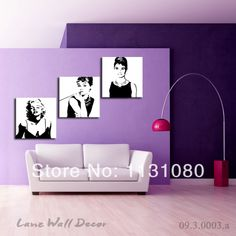 NO FRAME CANVAS ONLY 3 pieces black and white Marilyn Monroe Audrey Hepburn wall art  picture painting  Free Shipping US $29.99