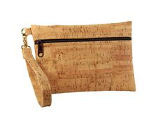 BE READY | Small Wristlet | Rustic Cork + Brown Zipper