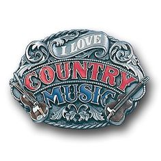 I Love Country Music Enameled Belt Buckle