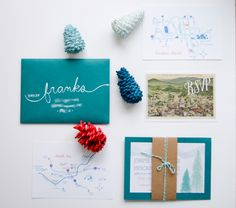 My DIY winter Asheville wedding invitations