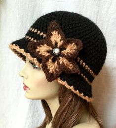Black Tan Brown Hat Woman Hat Brim Hat Cloche Flower Pearl Birthday Gifts - Hat For Women - Ideas of Hat For Women - Black Tan Brown Hat Woman Hat Brim Hat Cloche Flower Pearl Birthday Gifts Wedding Hat Tea Party Sombrero A Crochet, Crochet Beanie, Crochet Cardigan, Knitted Hats, Crochet Gifts, Hand Crochet, Knit Crochet, Crochet Hat For Women, Flapper Hat