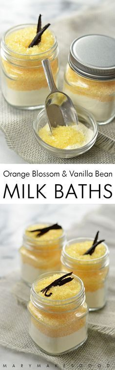 can make these Orange Blossom & Vanilla Bean Milk Baths with just five all-natural ingredients. Great for gifts or self-care!You can make these Orange Blossom & Vanilla Bean Milk Baths with just five all-natural ingredients. Great for gifts or self-care! Diy Cosmetic, Bath Recipes, Diy Scrub, Milk Bath, Homemade Beauty Products, Natural Beauty Products, Beauty Recipe, Home Made Soap, Soap Making