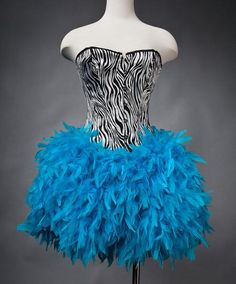 """Custom Size Zebra corset with full Turquoise feather skirt. Can I wear this for my """"bachelorette"""" party?!?"""