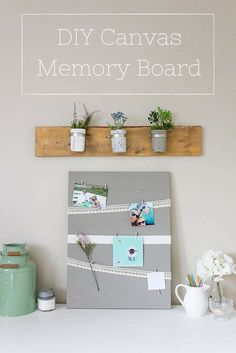 This canvas memory board took me just minutes to whip up and it's such a pretty way to display photos, cards and all those little things you just don't want cluttering up your fridge.    www.makingitinthemountains.com