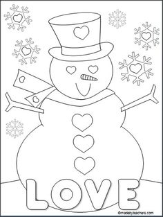This is a FREE Valentine's Day snowman coloring page for download on Madebyteachers.com. Add it to your February fun packets.