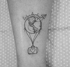 What does wanderlust tattoo mean? We have wanderlust tattoo ideas, designs, symbolism and we explain the meaning behind the tattoo. Tattoos For Women Small, Small Tattoos, Cool Tattoos, Tatoos, Piercing Tattoo, Piercings, Henne Tattoo, Balloon Tattoo, Inspiration Tattoos