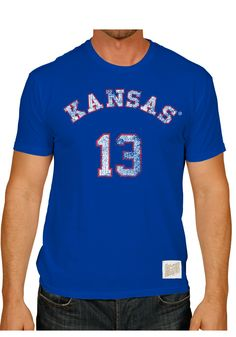 Kansas Jayhawks Retro Brand T-Shirt - Mens Blue Wilt Chamberlain Player T- Shirt 4af2b81fe