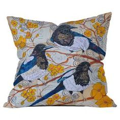 """Add a cozy touch to your sofa or favorite arm chair with this eye-catching pillow, showcasing a collage-inspired bird and branch motif.   Product: PillowConstruction Material: PolyesterColor: MultiFeatures:  Designed by Elizabeth St Hilaire Nelson Concealed zipper closure Insert included Printed on front and back  Dimensions: 20"""" x 20""""Cleaning and Care: Machine washable cover"""