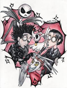 I really really like the world of Tim Burton... It'S very artistic, very dark and... it's a unique style.. I decided to draw the characters that I love the most :3 Jack skellington, Edwar...