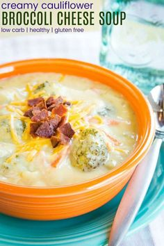 Cauliflower Broccoli Cheese Soup - just as creamy and cheesy as a classic broccoli cheddar soup recipe but more veggies make it more healthy! Gluten free and low carb too. Cauliflower And Broccoli Cheese, Creamy Cauliflower, Cauliflower Recipes, Broccoli Cheddar, Gourmet Recipes, Soup Recipes, Healthy Recipes, Keto Recipes, Dinner Recipes