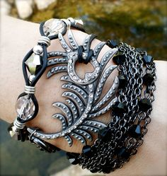 Peacock Chick Leather wrap bracelet. $60.00, via Etsy.