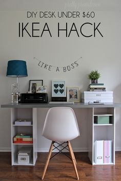 This IKEA hack desk is such an easy DIY for a home office! It's got storage too. If you need a workspace try this ikea office idea! Office Hacks, Office Ideas, Desk Ideas, Desk Hacks, Ikea Hack Desk, Ikea Kids Desk, Ikea Dorm, Ikea Nightstand, Kid Desk