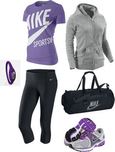 """Purle Works Out!"" grey black life fit clothes outfit cute nike"