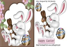 Sleepy bunny in chocolate frame with easter eggs on Craftsuprint - Add To Basket!