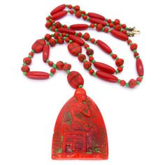 Image of Vintage Art Deco Czech Neiger Red & Green Pharaoh Scarab Glass Bead Necklace