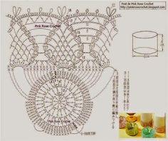 Lair knitting and crochet Crochet Vase, Crochet Books, Thread Crochet, Knit Crochet, Crochet Doily Diagram, Crochet Doilies, Crochet Patterns, Crochet Jar Covers, Cute Kitchen