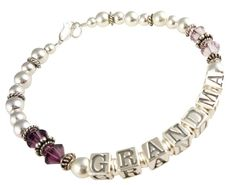 Grandma Bracelet in amethyst purple  or choose by NameBracelets