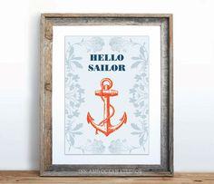 """Nautical FUN QUOTES """"Hello Sailor"""" gift Art Print"""