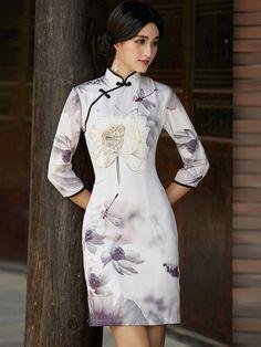 Half Sleeve Qipao / Cheongsam Dress with Lotus Print - CozyLadyWear