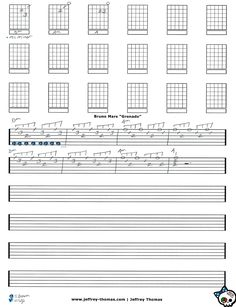 "Hi!  I am creating guitar tab for ""Grenade"" by Mr. Mars!  I hope you enjoy it.  More free guitar, bass and ukulele lessons at: www.jeffrey-thomas.com"