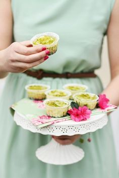 Mini Cheesecakes with Lime and Pistachio