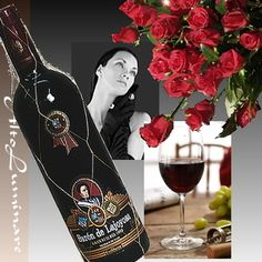Bouquet of red roses and wine Spain - Baron de Rahoyasa]