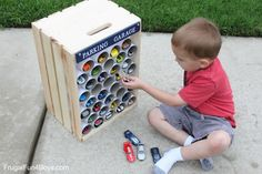 DIY Wooden Crate Parking Garage for Hot Wheels Cars