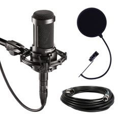 Amazon.com: Audio-Technica AT2035 Large Diaphragm Studio Condenser Microphone Bundle with Shock Mount, Pop Filter, and XLR Cable: Musical Instruments