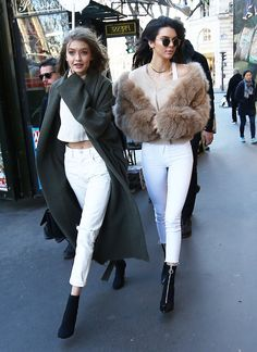 Kendall Jenner and Gigi Hadid Wore Matching Outfits in Paris via @WhoWhatWearUK