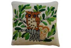 Two Owls Needlepoint Pillow on OneKingsLane.com