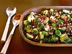 Roasted Brussels Sprouts with Walnuts & Pomegranate Molasses  - Simple and delicious vegan side dish with roasted Brussels sprouts, toasted walnuts, pomegranate molasses & seeds. Recipe for pomegranate molasses. via @toriavey