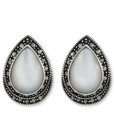 Genevieve & Grace Sterilng Silver Earrings, Marcasite and Mother of Pearl Clip-On Earrings - Earrings - Jewelry & Watches - Macy's