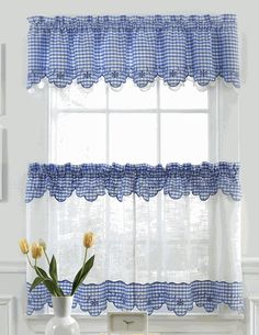 Provence Kitchen Curtains - Blue - Lorraine - Sheer Kitchen Curtains