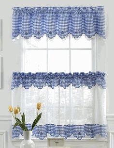 Provence Kitchen Curtains - Blue - Lorraine - Sheer Kitchen Curtains