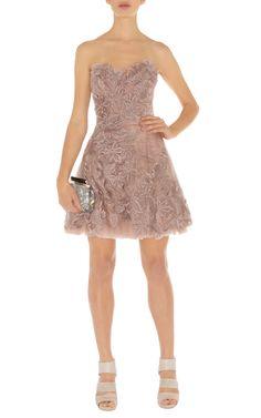 karen millen uk lace Strapless Dress-Karen Millen Dn163 Pink Romantic Embroidery Dress :