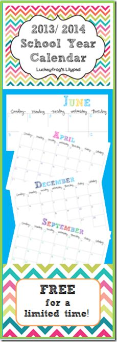 FREE 2013-2014 Calendar- SO cute! I've got to print this for next year!
