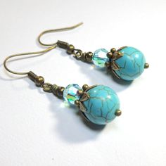 Jewelry Earrings Aqua Earrings Turquoise by SpiritCatDesigns