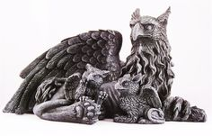 MOTHER GRIFFIN WITH BABIES STATUE