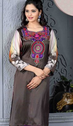 Fashionable Indian Grey Satin Kurti