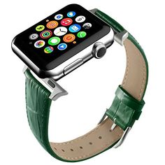 6f9b8bcd Apple Watch Band, Green Replacement Genuine Leather Strap for iWatch 20mm  with Adaper #Nokia