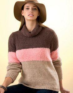 modèle de pull col roulé 3 couleurs femme facile à tricoter