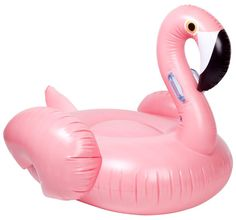 Have some fun in the sun with this giant pink inflatable flamingo with a surface large enough to relax and stretch out on if you wish - just add air and float t